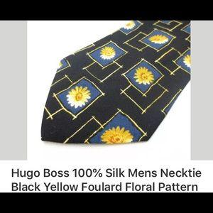Hugo boss black floral necktie, B 12